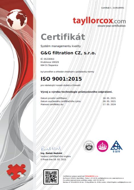 ISO 9001: 2015 Desarrollo y producción de tecnología de desempolvado industrial.